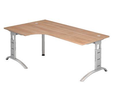 DR-Büro Schreibtisch mit silbernem Stahlgestell - 200 x 120 cm - Arbeitshöhe bis 85 cm - Bürotisch in 7 Farben - verkettbar - 2 Kabeldosen – Bild 4