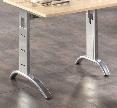 DR-Büro Schreibtisch mit silbernem Stahlgestell - 200 x 120 cm - Arbeitshöhe bis 85 cm - Bürotisch in 7 Farben - verkettbar - 2 Kabeldosen – Bild 10