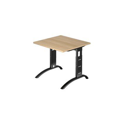 DR-Büro Schreibtisch mit schwarzem Stahlgestell - 80 x 80 cm - Arbeitshöhe 65 - 85 cm - Bürotisch in 7 Farben lieferbar - verkettbar – Bild 1