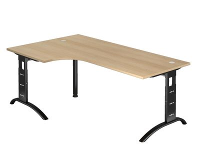 DR-Büro Schreibtisch mit schwarzem Stahlgestell - 200 x 120 cm - Arbeitshöhe bis 85 cm - Bürotisch in 7 Farben - verkettbar - 2 Kabeldosen – Bild 2