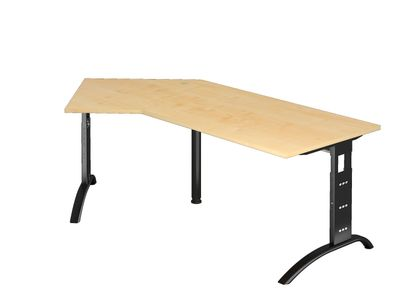 DR-Büro Schreibtisch mit schwarzem Stahlgestell - 210 x 113 cm - Arbeitshöhe bis 85 cm - Bürotisch in 7 Farben - verkettbar - inkl. Kabeldose – Bild 7