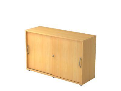 Abschließbarer Schiebetürenschrank DR-Büro  - Aktenschrank in 2 Ordnerhöhen - Maße 120 x 40 x 74,8 cm - in 5 Farbvarianten erhältlich - Höhe einstellbar – Bild 4