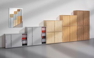 Abschließbarer Schiebetürenschrank DR-Büro  - Aktenschrank in 3 Ordnerhöhen - Maße 120 x 40 x 110 cm - in 5 Farbvarianten erhältlich - Höhe einstellbar – Bild 8