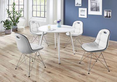 Tischgruppe im Stil der fünfziger Jahre - Esstisch rund weiß/weiß und vier Stühle weiß/schwarz 001