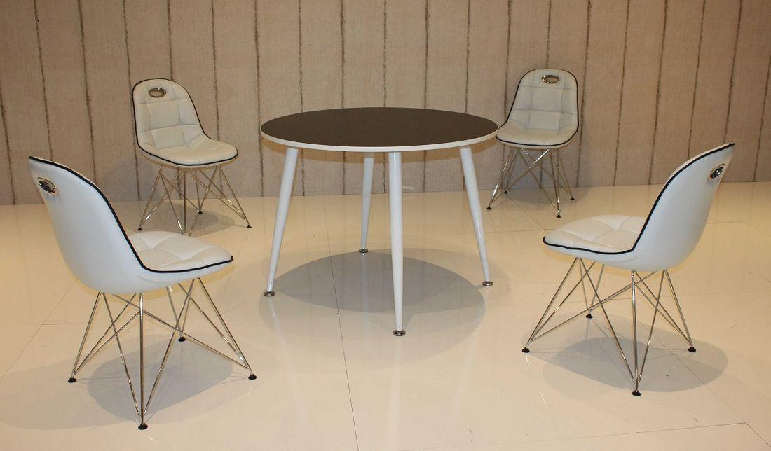 tischgruppe im stil der f nfziger jahre esstisch rund schwarz wei und 4 st hle wei schwarz. Black Bedroom Furniture Sets. Home Design Ideas