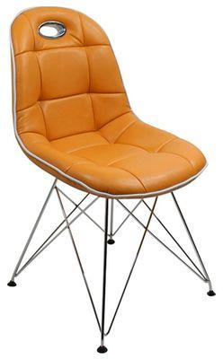 Tischgruppe im Stil der fünfziger Jahre - Esstisch rund mandarin/weiß und 4 Stühle mandarin/weiß – Bild 2