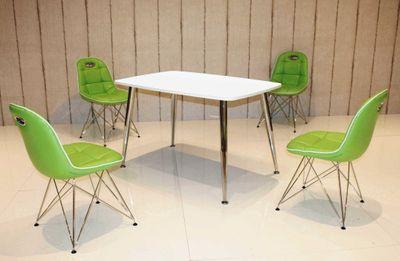 Tischgruppe im Stil der fünfziger Jahre - Esstisch eckig weiß/chrom und 4 Stühle mintgrün/schwarz – Bild 1