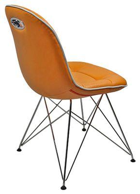 Tischgruppe im Stil der fünfziger Jahre - Esstisch eckig schwarz/chrom und 4 Stühle mandarin/weiß – Bild 3