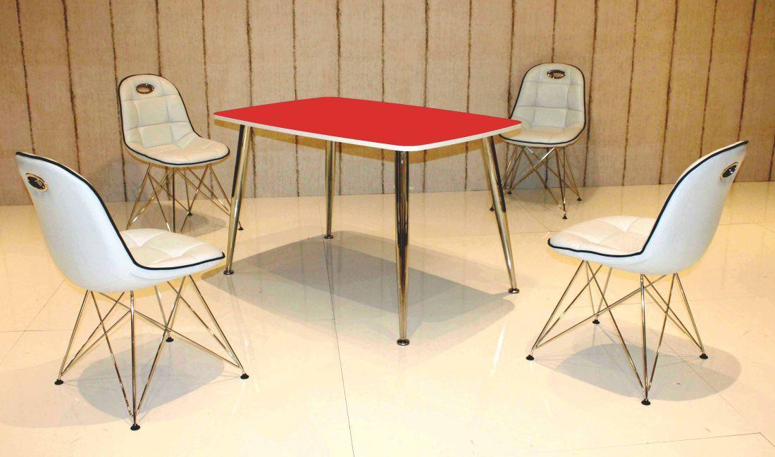 Tischgruppe Im Stil Der Fünfziger Jahre Esstisch Eckig Rotweiß Und 4 Stühle Weißschwarz
