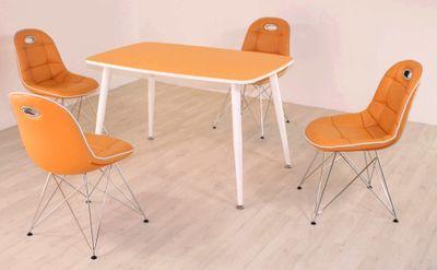 Tischgruppe im Stil der fünfziger Jahre - Esstisch eckig mandarin/weiß und 4 Stühle mandarin/weiß – Bild 2