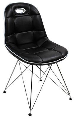 Schalenstuhl im Stil der fünfziger Jahre - Set 2 Stühle - aus schwarzem Kunstleder - Trapezgestell verchromt 001