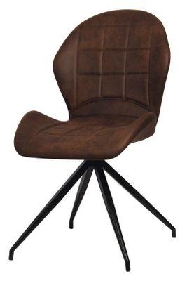 2 Stühle im Vitage-Stil - Valery braun meliert - Lederimitat