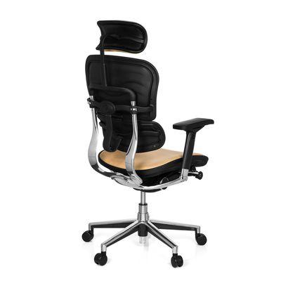 Bürostuhl DR-Büro Poreo 107 - Chefsessel mit Kopfstütze und Armlehnen - höhenverstellbar - Bezug echtes Leder safran – Bild 4