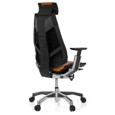 Bürostuhl DR-Büro Gabone 30 - Drehstuhl mit Kopfstütze und 4D Armlehnen - höhenverstellbar - Bezug echtes Leder hellbraun – Bild 4