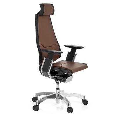 Bürostuhl DR-Büro Gabone 40 - Drehstuhl mit Kopfstütze und 4D Armlehnen - höhenverstellbar - Bezug echtes Leder braun – Bild 3