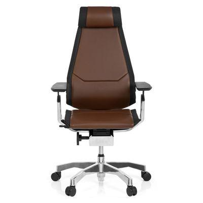 Bürostuhl DR-Büro Gabone 40 - Drehstuhl mit Kopfstütze und 4D Armlehnen - höhenverstellbar - Bezug echtes Leder braun – Bild 1