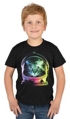 Kinder-Shirt für Jungen - Weltraum Katze - T-Shirt mit leuchtendem Neon-Motiv