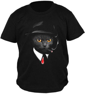 Kinder-Shirt für Jungen - Katzen Agent - T-Shirt mit leuchtendem Neon-Motiv Bild 2
