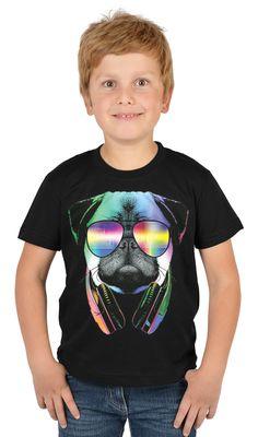 Kinder-Shirt für Jungen - Mops DJ - T-Shirt mit leuchtendem Neon-Motiv