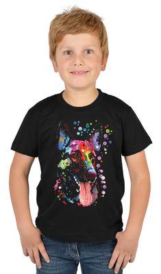 Kinder-Shirt für Jungen - Schäferhund - T-Shirt mit leuchtendem Neon-Motiv