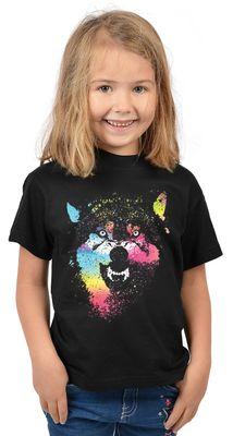 Kinder-Shirt für Mädchen - Bunter Wolf - T-Shirt mit leuchtendem Neon-Motiv