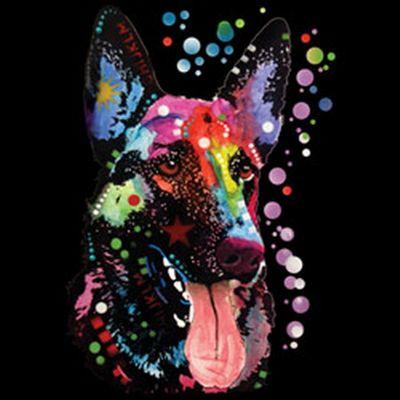 Kinder-Shirt für Mädchen - Schäferhund - T-Shirt mit leuchtendem Neon-Motiv Bild 3