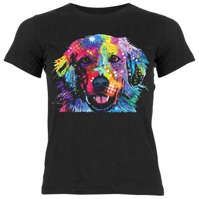 Kinder-Shirt für Mädchen - Golden Retriever - T-Shirt mit leuchtendem Neon-Motiv Bild 2