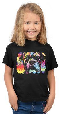 Kinder-Shirt für Mädchen - Boxer - T-Shirt mit leuchtendem Neon-Motiv