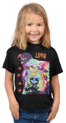 Kinder-Shirt für Mädchen - Love Pitbull - T-Shirt mit leuchtendem Neon-Motiv