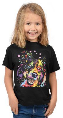 Kinder-Shirt für Mädchen - Border Collie - T-Shirt mit leuchtendem Neon-Motiv