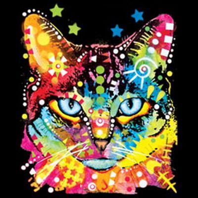 Kinder-Shirt für Mädchen - Katze Blaue Augen - T-Shirt mit leuchtendem Neon-Motiv Bild 3