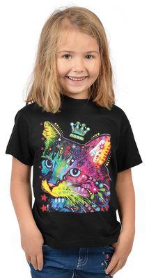 Kinder-Shirt für Mädchen - Katze Krone - T-Shirt mit leuchtendem Neon-Motiv