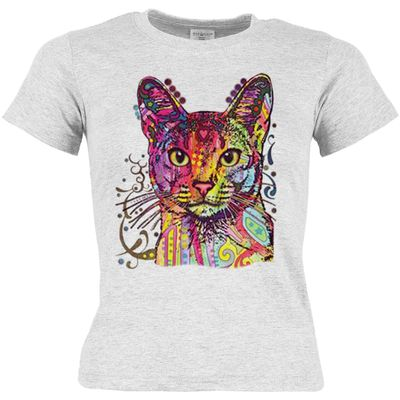 Kinder-Shirt für Mädchen - Abessinier Katze - T-Shirt mit leuchtendem Neon-Motiv Bild 2