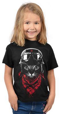 Kinder-Shirt für Mädchen - Abenteurer Katze - T-Shirt mit leuchtendem Neon-Motiv