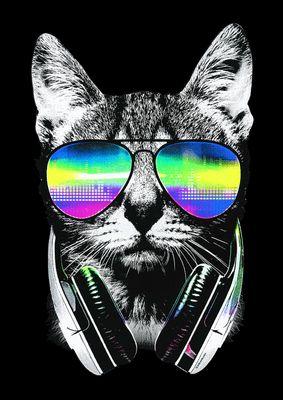Kinder-Shirt für Mädchen - DJ Katze - T-Shirt mit leuchtendem Neon-Motiv Bild 3