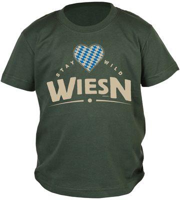 Bayerisches Kindershirt - Stay wild Wiesn - Herz - Rauten - T-Shirt für Jungen zum Oktoberfest Bild 2
