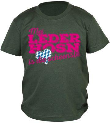 Bayerisches Kindershirt - Mei Leder Hosn is die scheenste - Herz - Rauten - T-Shirt für Jungen zum Oktoberfest Bild 2