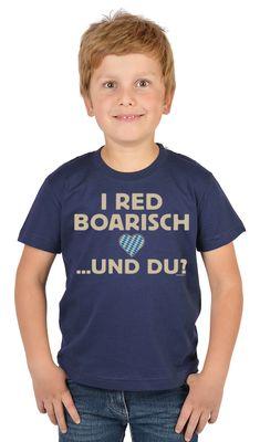 Bayerisches Kindershirt - I red boarisch und du - Herz - Rauten - T-Shirt für Jungen zum Oktoberfest