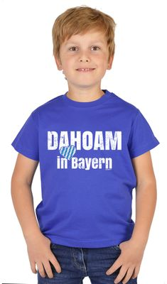 Bayerisches Kindershirt - Dahoam in Bayern - Herz - Rauten - T-Shirt für Jungen zum Oktoberfest