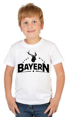 Bayerisches Kindershirt - Stay wild Bayern - Hirsch - T-Shirt für Jungen zum Oktoberfest