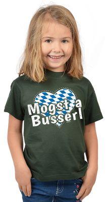 Bayerisches Kindershirt - Mogst a Busserl - Herz - Rauten - T-Shirt für Mädchen zum Oktoberfest