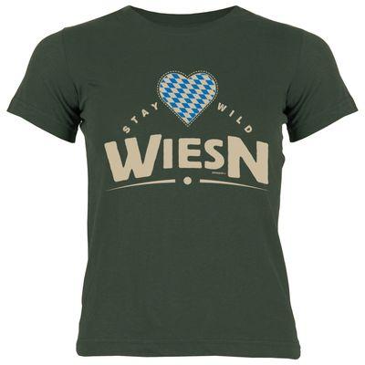 Bayerisches Kindershirt - Stay wild Wiesn - Herz - Rauten - T-Shirt für Mädchen zum Oktoberfest Bild 2