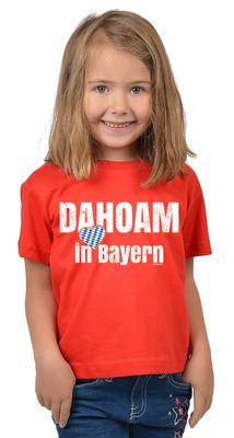 Bayerisches Kindershirt - Dahoam in Bayern - Herz - Rauten - T-Shirt für Mädchen zum Oktoberfest