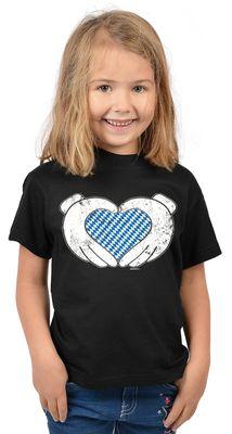 Bayerisches Kindershirt - Bayern Hände Herz - T-Shirt für Mädchen zum Oktoberfest