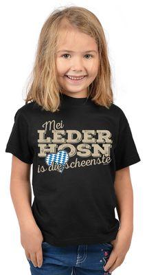 Bayerisches Kindershirt - Mei Leder Hosn is die scheenste - Herz - Rauten - T-Shirt für Mädchen zum Oktoberfest