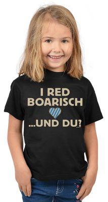 Bayerisches Kindershirt - I red boarisch und du - Herz - Rauten - T-Shirt für Mädchen zum Oktoberfest