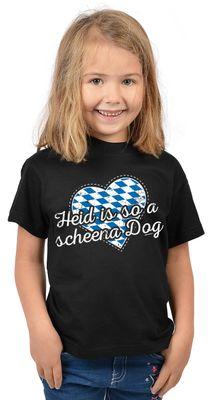 Bayerisches Kindershirt - Heid is so a scheena Dog - Herz - Rauten - T-Shirt für Mädchen zum Oktoberfest