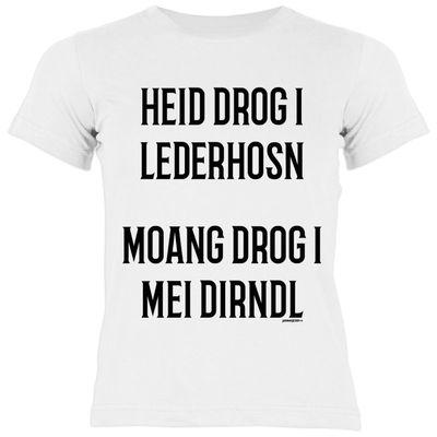 Bayerisches Kindershirt - Heid drog I Lederhosn... - T-Shirt für Mädchen zum Oktoberfest Bild 2