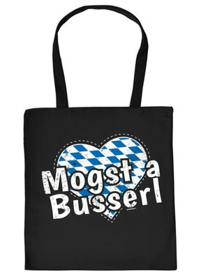 Bayerischer Stoffbeutel - Mogst a Busserl - Herz - Rauten - Tasche als Accessoire zum Oktoberfest