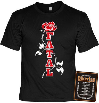 Bikershirt Unisex - Fatal Rose - T-Shirt im Geschenk-Set mit Blechschild